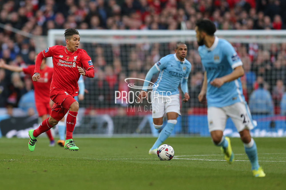 Liverpool midfielder Roberto Firmino (11)  during the Capital One Cup match between Liverpool and Manchester City at Anfield, Liverpool, England on 28 February 2016. Photo by Simon Davies.