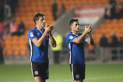 Jim McNulty and Ian henderson applaud the Rochdale supporters during the EFL Sky Bet League 1 match between Blackpool and Rochdale at Bloomfield Road, Blackpool, England on 26 September 2017. Photo by Daniel Youngs.