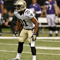 Aug 28, 2014; New Orleans, LA, USA; New Orleans Saints free safety Jairus Byrd (31) during a preseason game against the Baltimore Ravens at Mercedes-Benz Superdome. The Ravens defeated the Saints 22-13. Mandatory Credit: Derick E. Hingle-USA TODAY Sports