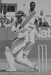 Nottinghamshire cricket captain Clive Rice hitting out against the bowling of Gloucestershire fast bowler Courtney Walsh during his innings in the Nattiest Bank Trophy quarter-final at Bristol.