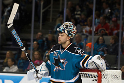 Jan 17, 2012; San Jose, CA, USA; San Jose Sharks goalie Antti Niemi (31) during a stoppage in play against the Calgary Flames during the first period at HP Pavilion. San Jose defeated Calgary 2-1 in shootouts. Mandatory Credit: Jason O. Watson-US PRESSWIRE