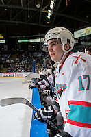 KELOWNA, CANADA - FEBRUARY 5: Rodney Southam #17 of Kelowna Rockets stands on the bench against the Spokane Chiefs on February 5, 2016 at Prospera Place in Kelowna, British Columbia, Canada.  (Photo by Marissa Baecker/Shoot the Breeze)  *** Local Caption *** Rodney Southam;