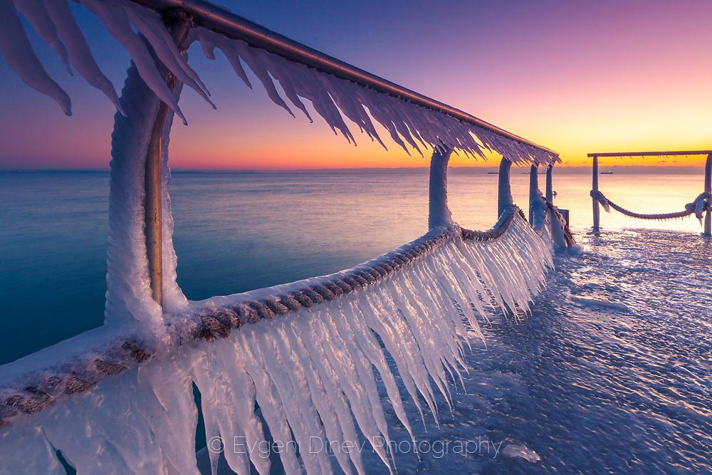 Frozen bridge in Burgas at dawn