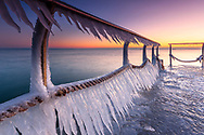 Frozen bridge in Burgas at dawn
