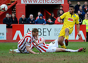 Reuben Reid scores his and Plymouths second goal during the Sky Bet League 2 match between Cheltenham Town and Plymouth Argyle at Whaddon Road, Cheltenham, England on 28 March 2015. Photo by Alan Franklin.