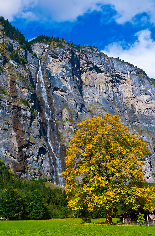 Sefinen Waterfall near Stechelberg in the Lauterbrunnen Valley, Canton Bern, Switzerland