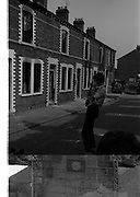 View of Belfast, bombay st, nationalists, homes burned, by British loyalists, Barricades - Falls Rd, Clonard,  <br /> 30/08/1969