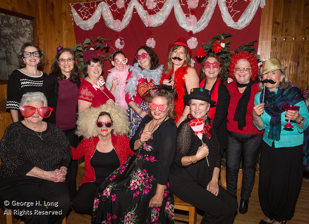 Members of the Ladies Progressive Club pose at their Sweetheart Valentine's Dance in Abita Springs, Louiaiana on February 13, 2016