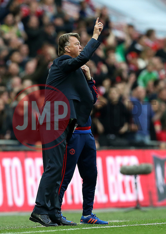 Manchester United Manager Louis van Gaal tries to get a message across to his players - Mandatory by-line: Robbie Stephenson/JMP - 21/05/2016 - FOOTBALL - Wembley Stadium - London, England - Crystal Palace v Manchester United - The Emirates FA Cup Final