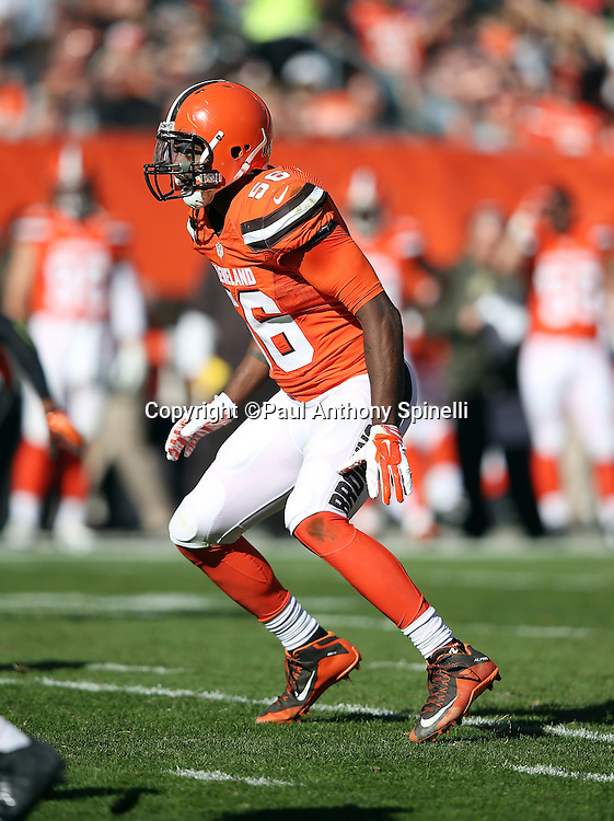 Cleveland Browns inside linebacker Karlos Dansby (56) chases the action during the 2015 week 8 regular season NFL football game against the Arizona Cardinals on Sunday, Nov. 1, 2015 in Cleveland. The Cardinals won the game 34-20. (©Paul Anthony Spinelli)
