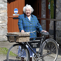 Money Mail Feature.... Aberfeldy Water Mill...14.5.2003.<br />Kathleen Rodger outside her Aberfeldy Water Mill with the mill bike that will go with the sale.<br /><br />Picture by John Lindsay .<br />COPYRIGHT: Perthshire Picture Agency.<br />Tel. 01738 623350 / 07775 852112.
