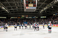 KELOWNA, CANADA - JANUARY 19:  The Kelowna Rockets salute the fans after the shootout win against the No.1 team in the CHL and WHL, Prince Albert Raiders on January 19, 2019 at Prospera Place in Kelowna, British Columbia, Canada.  (Photo by Marissa Baecker/Shoot the Breeze)