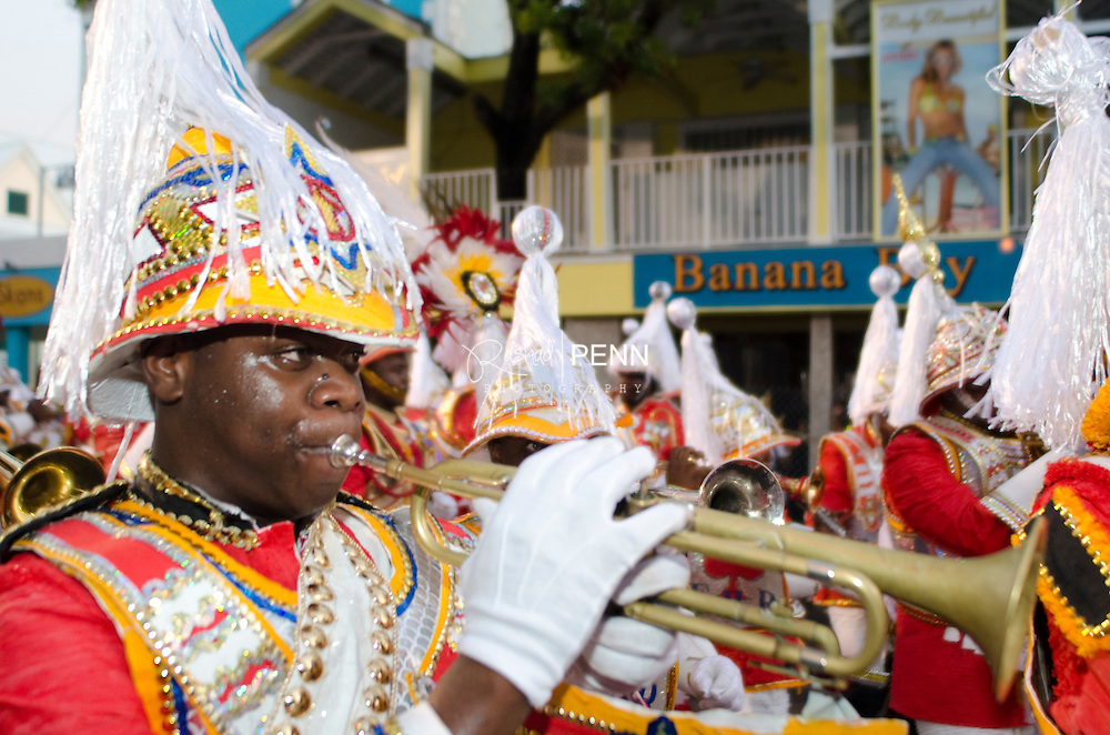 Boxing Day Junkanoo on Bay street on the Island of New Providence in the Bahamas. The capitol city of Nassau. The Bahamas yearly festival.