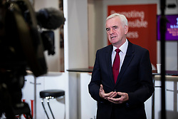 © Licensed to London News Pictures. 24/09/2018. Liverpool, UK. Shadow Chancellor John McDonnell MP gives an interview at the Labour Party Conference 2018. Photo credit: Rob Pinney/LNP