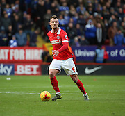 Charlton Athletic defender Patrick Bauer bringing the ball out of defence during the Sky Bet Championship match between Charlton Athletic and Ipswich Town at The Valley, London, England on 28 November 2015. Photo by Matthew Redman.