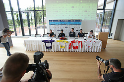 Elia Viviani of Team SKY, Mark Cavendish of Team Dimension Data, Matej Mohoric of Lampre - Merida, Jure Golcer of Adria Mobil and Dare Rupar during press conference of cycling race Po Sloveniji - Tour de Slovenie 2015 on June 15, 2016 in Hotel Jama, Postojna, Slovenia. Photo by Morgan Kristan / Sportida