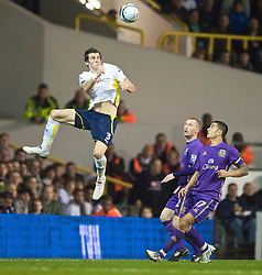 LONDON, ENGLAND - Tuesday, October 27, 2009: Everton's Gareth Bale in action against Tottenham Hotspur during the League Cup 4th Round match at White Hart Lane. (Photo by David Rawcliffe/Propaganda)