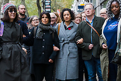 © Licensed to London News Pictures. 05/11/2019. London, UK. Television presenter and journalist, Samira Ahmed (C) with her supporters arrives at the Central London Employment Tribunal to attend an equal pay case hearing against the BBC. Samira Ahmed, who presents Newswatch on BBC One and Radio 4's Front Row claims she was paid less than male colleagues for doing equivalent work under the Equal Pay Act. Photo credit: Vickie Flores/LNP