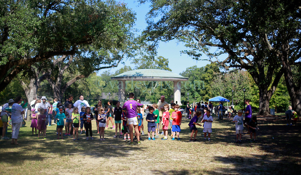 19 October 2014. New Orleans, Louisiana. <br /> Kids get ready for the egg and spoon race at the New Orleans' Irish Network's third Family Day event with fun and games for kids and adults alike. With Irish dancing, egg and spoon and sack races with a good old fashioned tug of war to round things off.<br /> Photo; Charlie Varley/varleypix.com