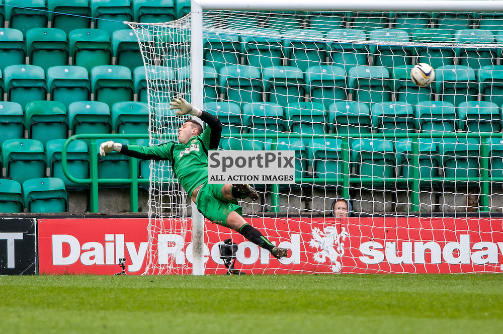 Alloa Goalkeeper John Gibson is can't keep out Hibernian Midfielder Liam Craig's shot, as Hibs go 2-0 up. Action from the Hibernian v Alloa Athletic game in the Scottish Championship at Easter Road in Edinburgh, 25 April 2015. (c) Paul J Roberts / Sportpix.org.uk