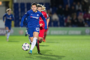 Chelsea Ladies Ramona Bachmann (23) attacks during the UEFA Women's Champions League quarter final second leg match between Chelsea Ladies and Montpellier Feminines at the Kings Sports Ground, New Malden, United Kingdom on 28 March 2018. Picture by Robin Pope.