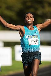 Boston Athletic Association Half Marathon; Lelisa Desisa, Ethiopia, wins race