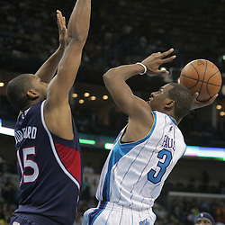 05 November 2008: New Orleans Hornets guard Chris Paul (3) shoots as Atlanta Hawks center Al Horford (15) defends during a 87-79 victory by the Atlanta Hawks over the New Orleans Hornets at the New Orleans Arena in New Orleans, LA..