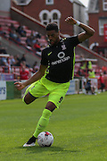 forward Vadaine Oliver during the Sky Bet League 2 match between Exeter City and York City at St James' Park, Exeter, England on 22 August 2015. Photo by Simon Davies.