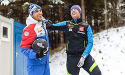 06.01.2016, Paul Ausserleitner Schanze, Bischofshofen, AUT, FIS Weltcup Ski Sprung, Vierschanzentournee, Bischofshofen, Finale, im Bild v.l.: Vincent Descombes Sevoie (FRA) und Co Trainer Robert Treitinger (FRA) // f.l.: Vincent Descombes Sevoie of France and Austrian Assistent Coach Robert Treitinger of France during the Final of the Four Hills Tournament of FIS Ski Jumping World Cup at the Paul Ausserleitner Schanze in Bischofshofen, Austria on 2016/01/06. EXPA Pictures © 2016, PhotoCredit: EXPA/ JFK