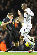 Picture by David Horn/Focus Images Ltd +44 7545 970036.28/11/2012.Jermain Defoe of Tottenham Hotspur (right) and Steven Gerrard of Liverpool during the Barclays Premier League match at White Hart Lane, London.