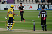 Max Waller of Somerset takes a catch to dismiss Shahid Afridi of Hampshire during the NatWest T20 Blast South Group match between Hampshire County Cricket Club and Somerset County Cricket Club at the Ageas Bowl, Southampton, United Kingdom on 29 July 2016. Photo by David Vokes.