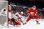Jan 31, 2014; Detroit, MI, USA; Washington Capitals goalie Michal Neuvirth (30) makes a save on Detroit Red Wings left wing Justin Abdelkader (8) in the first period at Joe Louis Arena. Mandatory Credit: Rick Osentoski-USA TODAY Sports
