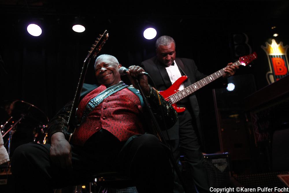 Blues artist B.B. King at his namesake club in Memphis.