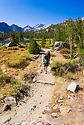 Backpackers in Little Lakes Valley, John Muir Wilderness, Sierra Nevada Mountains, California