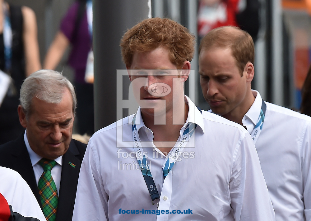 Prince Harry, (L) and Prince William arrive for the boxing  at the SECC Precinct, Glasgow<br /> Picture by Alan Stanford/Focus Images Ltd +44 7915 056117<br /> 28/07/2014