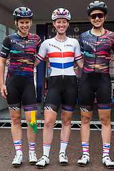 London, UK. 3 August, 2019. Canyon-SRAM team members, including Alice Barnes wearing the British national championships jersey for the first time on home soil, pose for a team photograph before the Prudential RideLondon Classique. The Classique, which is the richest one-day women's race in the world, covers 20 laps of a tight circuit of 3.4 kilometres around St James's Park and Constitution Hill.