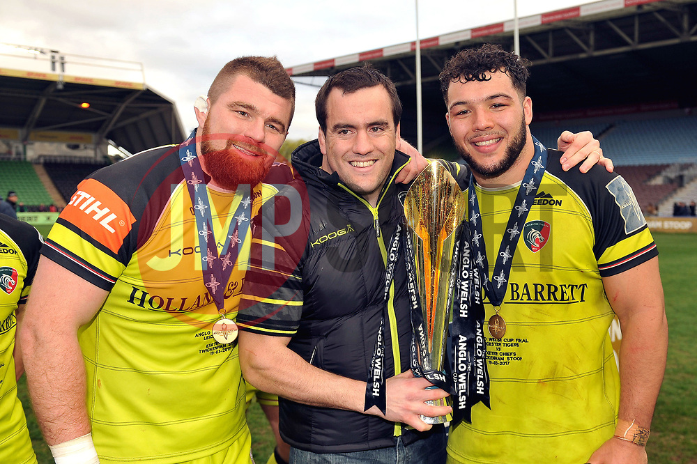 Michele Rizzo, Marcos Ayerza and Ellis Genge with the Anglo-Welsh Cup trophy - Mandatory byline: Patrick Khachfe/JMP - 07966 386802 - 19/03/2017 - RUGBY UNION - The Twickenham Stoop - London, England - Exeter Chiefs v Leicester Tigers - Anglo-Welsh Cup Final.