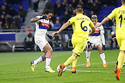 Memphis Depay of Lyon and Mariano Diaz of Lyon and Víctor Ruiz of Villarreal during the UEFA Europa League, Round of 32, 1st leg football match between Olympique Lyonnais and Villarreal on February 15, 2018 at Groupama stadium at Decines-Charpieu near Lyon, France - Photo Romain Biard / Isports / ProSportsImages / DPPI