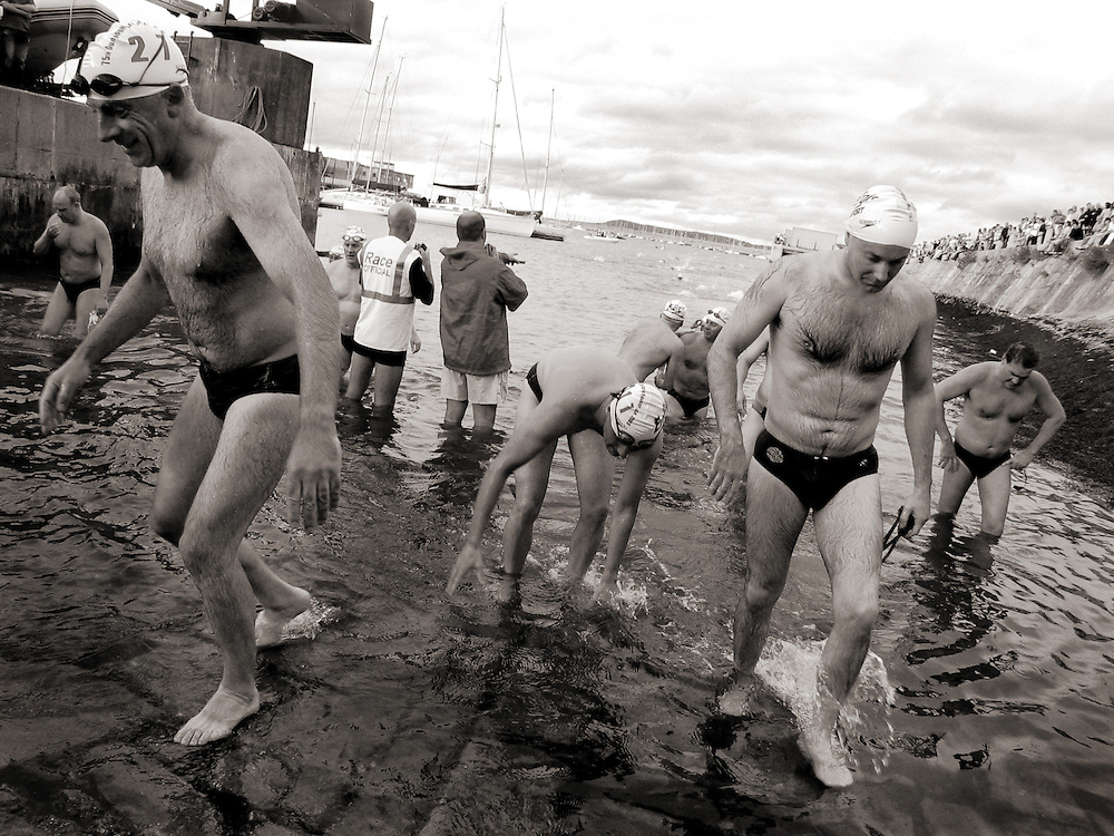 Competitors at the finish of the 2005 Dun Laoghaire Harbour Swim, Dun Laoghaire, Co. Dublin, Ireland, August 2005.