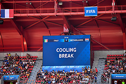 June 30, 2019 - Valenciennes, France - Cooling break during the quarter-final between in ITALY and NETHERLANDS the 2019 women's football World cup at Stade du Hainaut, on the 29 June 2019. (Credit Image: © Julien Mattia/NurPhoto via ZUMA Press)
