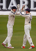 Jonathan M Bairstow(Yorkshire CCC) wicket keeper is congratulated by Alex Z Lees after taking the catch of John Hastings (Durham County Cricket Club) off the bowling of Tim T Bresnan during the LV County Championship Div 1 match between Durham County Cricket Club and Yorkshire County Cricket Club at the Emirates Durham ICG Ground, Chester-le-Street, United Kingdom on 30 June 2015. Photo by George Ledger.