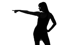 stylish sexy silhouette caucasian beautiful woman profile poiinting on studio isolated white background