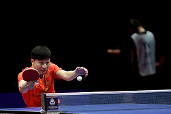 BREMEN, March 25, 2018  China's Ma Long competes during the men's singles semifinal match against Chinese Hong Kong's Wong Chun Ting at the 2018 ITTF World Tour Platinum German Open in Bremen, Germany, on March 25, 2018. Ma Long won 4-2 and advanced to the final. (Credit Image: © Binh Truong/Xinhua via ZUMA Wire)