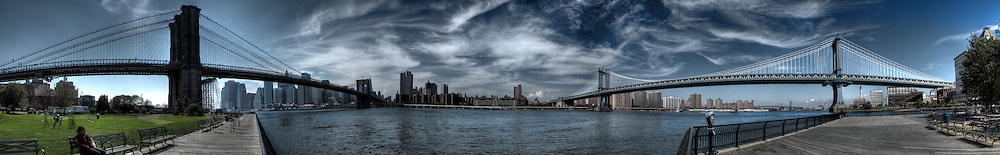 During my lunch break, I walked down to the pear by DUMBO in Brooklyn and shot this panoramic of Manhattan and both the Brooklyn and Manhattan bridges.