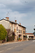 The Wine Route in early spring in Beaujolais, France. Auberge du Paradis in Saint-Amour features both a quirky, modern hotel and a fabulous restaurant.  Owners Valerie and Cyril Laugier run the establishment and live on the property with their two children.
