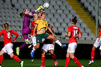 Fifa Womans World Cup Canada 2015 - Preview //<br /> Cyprus Cup 2015 Tournament ( Gsp Stadium Nicosia - Cyprus ) - <br /> Australia vs England 0-3   // Karen Bardsley of England (L) , anticipates with an output Caitlin Foord of Australia (9-Middle)