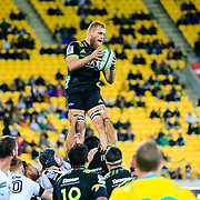 Brad Shields (captain) in the lineoutvduring the Super Rugby union game between Hurricanes and Sunwolves, played at Westpac Stadium, Wellington, New Zealand on 27 April 2018.   Hurricanes won 43-15.