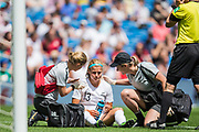 Rosie White (New Zealand) receiving treatment following an injury during the FIFA Women's World Cup UEFA warm up match between England Women and New Zealand Women at the American Express Community Stadium, Brighton and Hove, England on 1 June 2019.