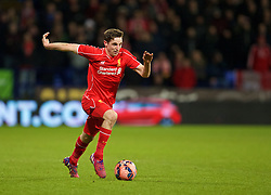 BOLTON, ENGLAND - Wednesday, February 4, 2015: Liverpool's Joe Allen in action against Bolton Wanderers during the FA Cup 4th Round Replay match at the Reebok Stadium. (Pic by David Rawcliffe/Propaganda)