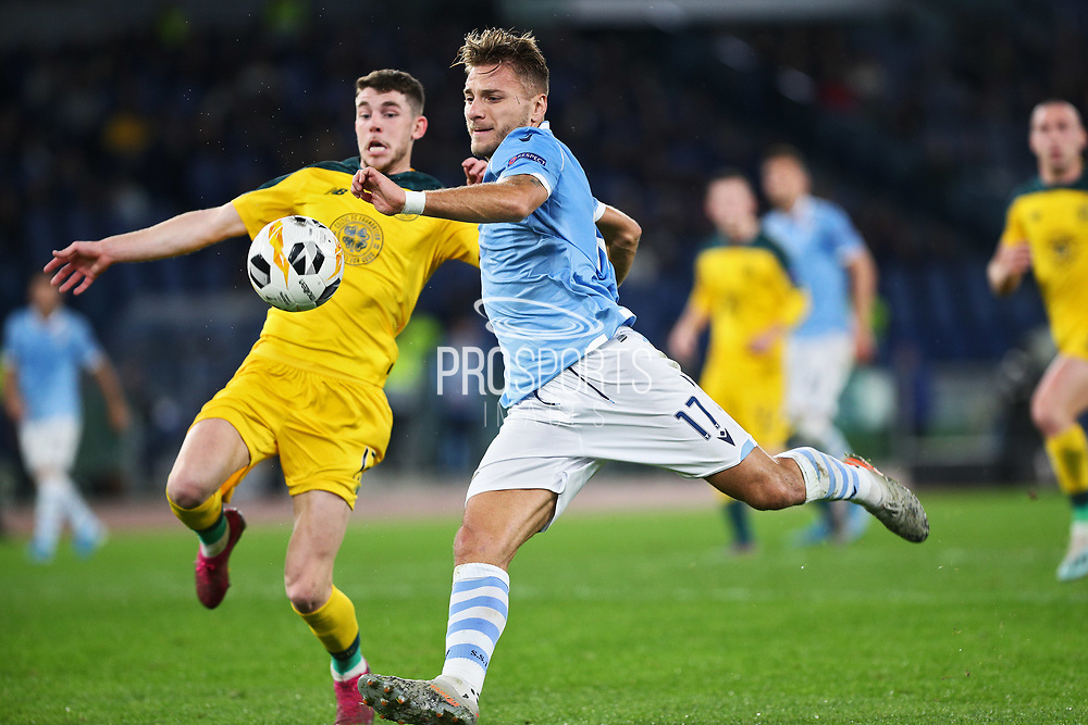 Ryan Christie (L) of Celtic and Ciro Immobile (R) of Lazio in action during the UEFA Europa League, Group E football match between SS Lazio and Celtic FC on November 7, 2019 at Stadio Olimpico in Rome, Italy - Photo Federico Proietti / ProSportsImages / DPPI